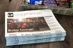 "Die LZ Nr. 41 im Späti. ""Keine Gewalt"". Foto: LZ"