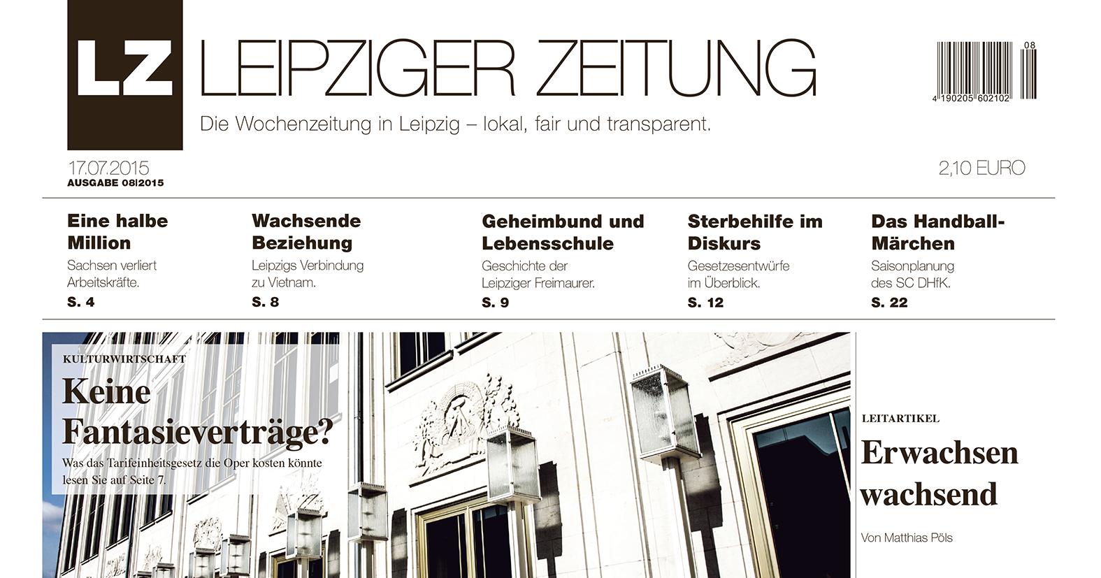 LEIPZIGER ZEITUNG Titelblatt Ausgabe 08