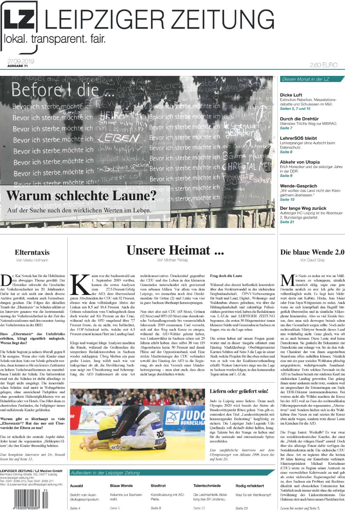Die LEIPZIGER ZEITUNG Nr. 71, Ausgabe September 2019. Zum Lesen klicken. Foto: LZ